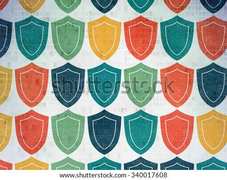 Protection concept: Painted multicolor Shield icons on Digital Paper background