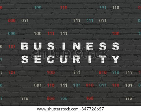 Protection concept: Painted white text Business Security on Black Brick wall background with Binary Code