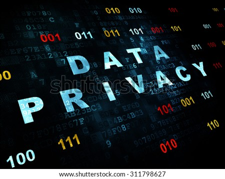 Protection concept: Pixelated blue text Data Privacy on Digital wall background with Binary Code