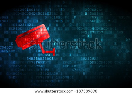 Protection concept: pixelated Cctv Camera icon on digital background, empty copyspace for card, text, advertising, 3d render - stock photo