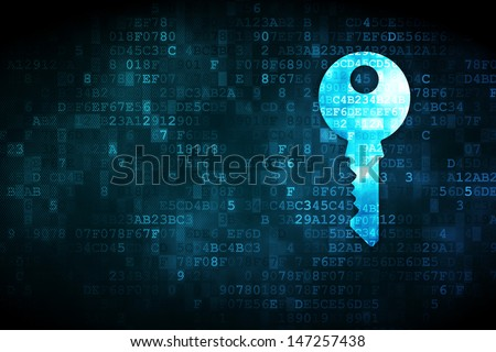 Protection concept: pixelated Key icon on digital background, empty copyspace for card, text, advertising, 3d render - stock photo