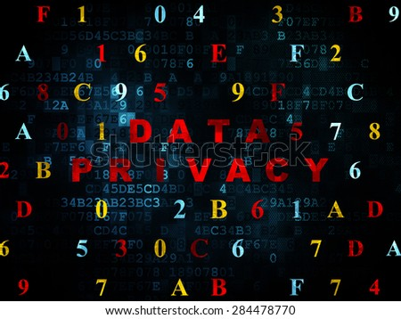 Protection concept: Pixelated red text Data Privacy on Digital wall background with Hexadecimal Code, 3d render - stock photo