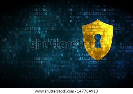 Protection concept: pixelated Shield With Keyhole icon on digital background, empty copyspace for card, text, advertising, 3d render