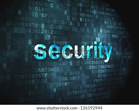 Protection concept: pixelated words Security on digital background, 3d render - stock photo