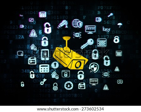 Protection concept: Pixelated yellow Cctv Camera icon on Digital background with  Hand Drawn Security Icons, 3d render - stock photo