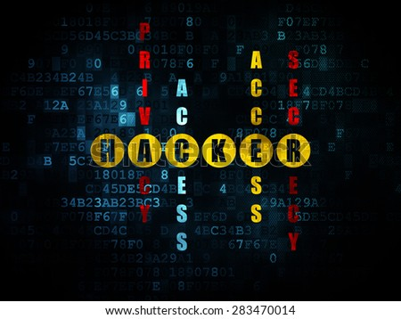 Protection concept: Pixelated yellow word Hacker in solving Crossword Puzzle on Digital background, 3d render - stock photo