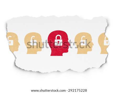 Protection concept: row of Painted yellow head with padlock icons around red head with padlock icon on Torn Paper background, 3d render - stock photo