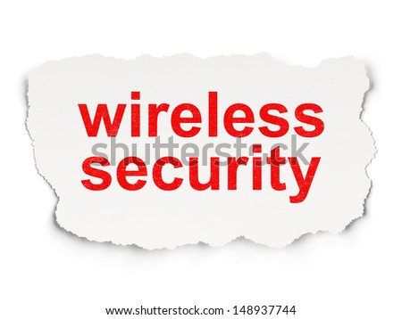 Protection concept: torn paper with words Wireless Security on Paper background, 3d render