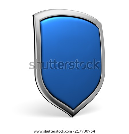 Protection, defense and security concept symbol: blue shield on isolated on white background - stock photo