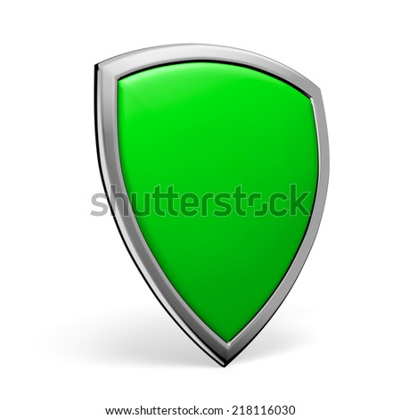Protection, defense and security concept symbol: green shield on isolated on white background
