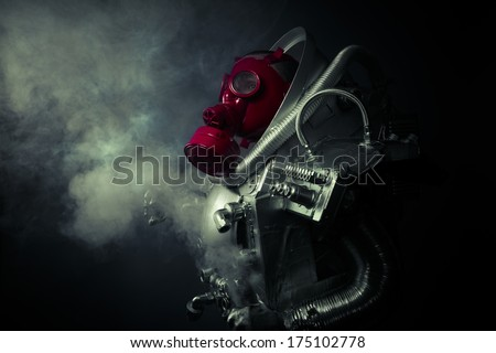 Protection.Environmental disaster. Post apocalyptic survivor in gas mask - stock photo