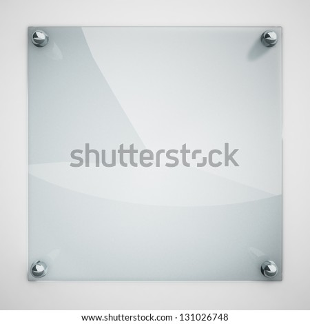 Protection glass plate fastened to white wall with metal rivets. - stock photo