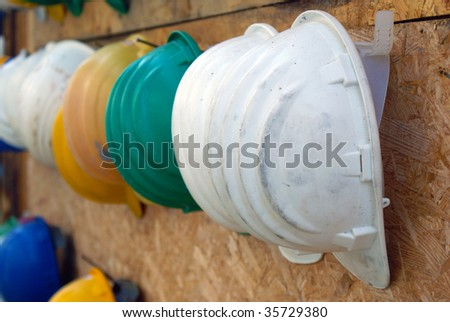 Protection helmet ai building site - stock photo