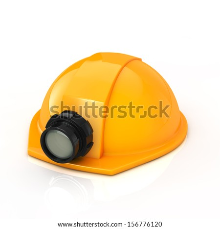 Protection helmet with lamp on white background - stock photo