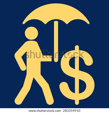 Protection icon. Style: flat symbol, yellow color, rounded angles, blue background.