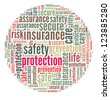 Protection in word collage - stock photo