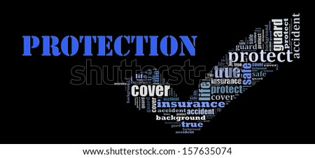Protection info text graphic and arrangement concept on black background - stock photo