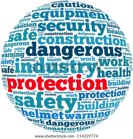protection info-text graphics and arrangement concept on white background (word cloud) - stock photo
