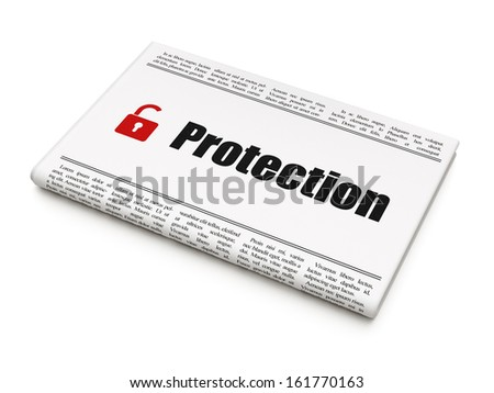 Protection news concept: newspaper headline Protection and Opened Padlock icon on White background, 3d render