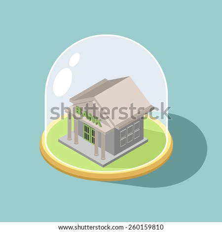 Protection of Bank. bank Isometric  Building  - stock photo