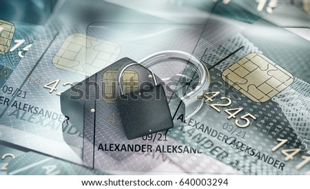 protection of Bank card account, the abstraction of 3D rendering 3D illustration