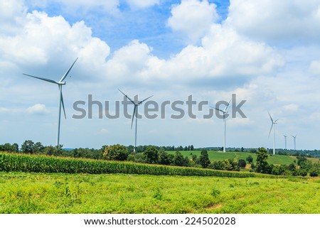 Protection of nature - wind turbine - stock photo