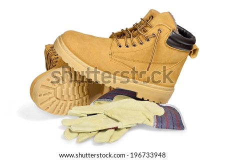 Protective boots and gloves isolated on white with clipping path. - stock photo