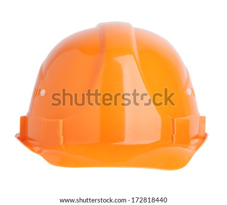 Protective construction helmet, orange on a white background. - stock photo