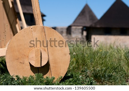 protective device against attacks arrows, vintage reconstruction - stock photo