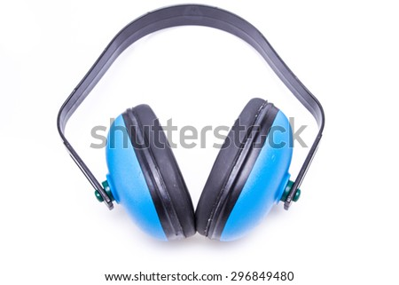 Protective ear muffs isolated on a white background - stock photo