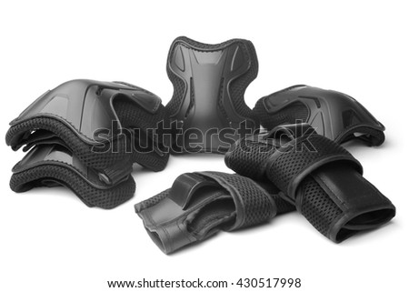 Protective gear for multi sport on white background - stock photo