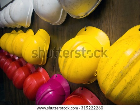 Protective helmets - stock photo
