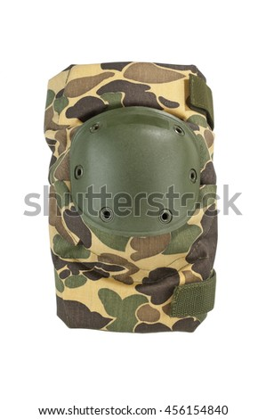 Protective knee pad with camouflage pattern, hard shell knee cap - stock photo