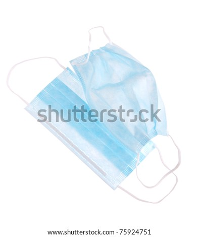 protective surgical masks isolated in white background - stock photo