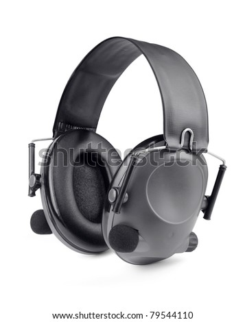 Protective tactical shooting headset isolated on white
