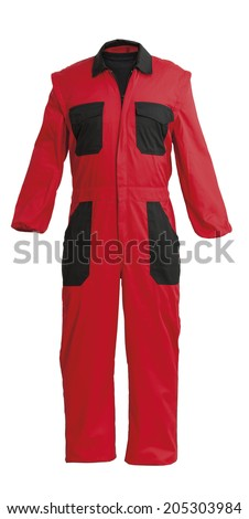 Protective worker's red overall, isolated on white with clipping path - stock photo