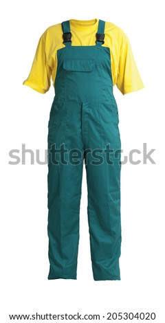 Protective workers green trou and buckles with yellow t-shirt, isolated on white