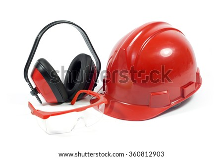 Protective Workwear- Red Safety Helmet, Transparent Goggles With Red Frame And Earmuffs Isolated On White Background