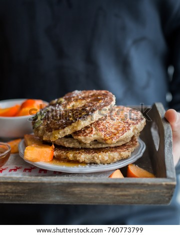 Protein Pancakes! Tasty Useful Pancake With Oatmeal And Cottage Cheese.  With Honey, Pumpkin