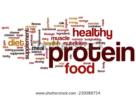 Protein word cloud concept - stock photo