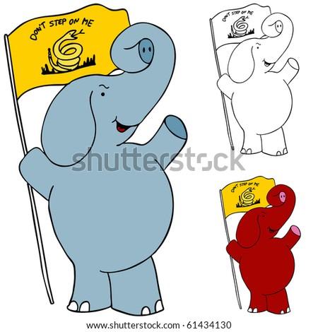 Protest Flag Elephant - stock photo