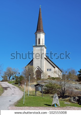 Protestant church in Hanko with monument to the inhabitants died in World War II, Finland