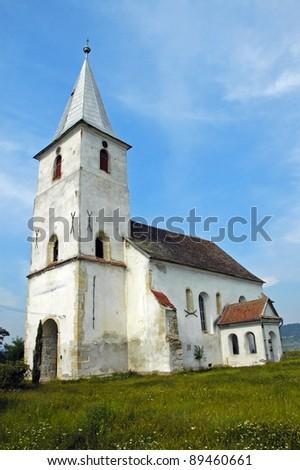 Protestant church in Transylvania, Romania - stock photo