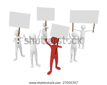 Protestation with leader in front - stock photo
