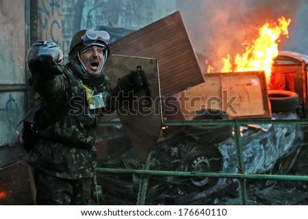 Protester shouts. Kyiv, Ukraine, January 20, 2014 - stock photo