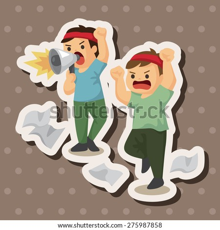 Protesters , cartoon sticker icon - stock photo