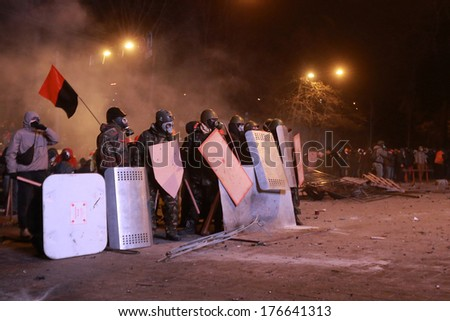Protesters in anticipation of an attack police.  Kyiv, Ukraine, January 19, 2014
