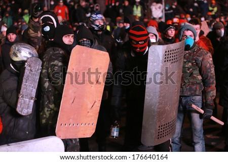 Protesters with the accounts. Kyiv, Ukraine, January 19, 2014 - stock photo
