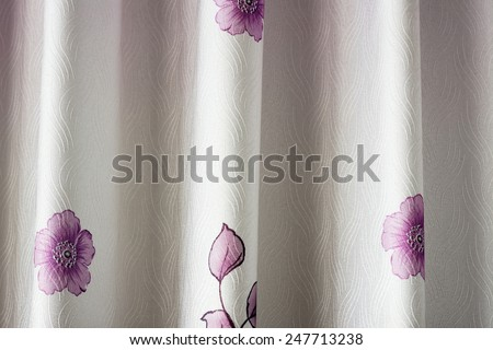 Prototype purple floral curtains blinds Thailand. - stock photo