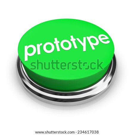 Prototype word on a 3d green button to press and get an instant mock-up or product concept sample for testing and inventing - stock photo
